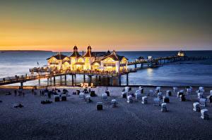 Картинки Германия Вечер Побережье Пляже Rügen