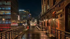 Фото Германия Гамбург Здания Ночные