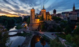 Обои для рабочего стола Германия Здания Дороги Речка Мост В ночи Bautzen город