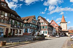 Обои Германия Дома Небо Улица Скамья Gengenbach город