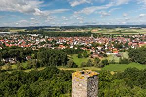 Обои Германия Здания Облака Сверху Volkmarsen Природа