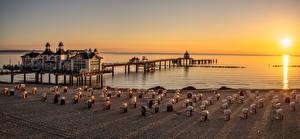 Фотография Германия Утро Побережье Рассветы и закаты Пляж Rügen Природа