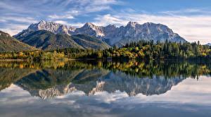 Фото Германия Гора Осенние Альп Альпы Бавария Karwendel Природа