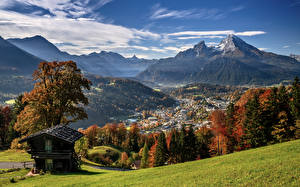 Картинки Германия Горы Осень Пейзаж Бавария Альп Долина Природа