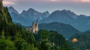 Фотография Германия Гора Замки Нойшванштайн Бавария Альпы Природа