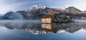 Фотографии Германия Гора Утро Озеро Панорама Бавария Отражение Туман Альпы Kochelsee Природа