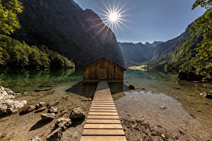 Картинки Германия Гора Парки Альп Солнце National Park Berchtesgaden