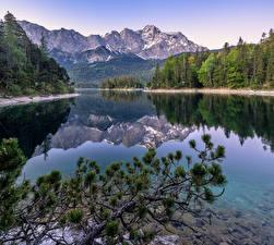 Фотографии Германия Горы Река Отражается Дерева Альп Upper Bavaria Природа