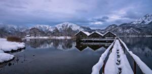 Фото Германия Горы Зимние Озеро Бавария Альп Природа