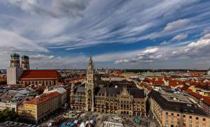 Фото Германия Мюнхен Здания Собор Небо Башня Frauenkirche Cathedral Города