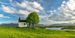 Фотография Германия Реки Бавария Облачно Деревья Природа