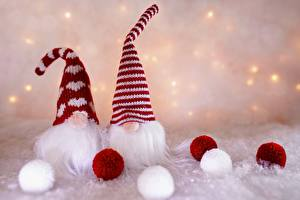 Фото Гномы Рождество В шапке Бородатый Шарики