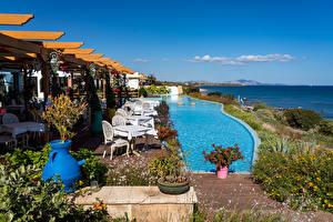 Обои Греция Море Небо Побережье Плавательный бассейн Lachania Природа