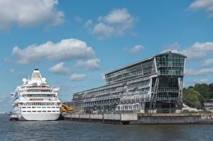 Фото Гамбург Германия Круизный лайнер Cruise Center город