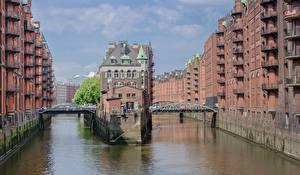 Картинки Гамбург Германия Здания Мост Водный канал Speicherstadt, Elba город