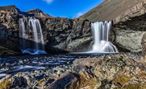 Фотография Исландия Водопады Скале Skutafoss Природа