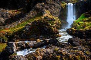 Картинки Исландия Водопады Камни Утес Мох Природа
