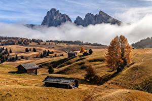 Фото Италия Гора Осень Туман Альпы South Tyrol Природа