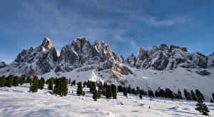 Картинки Италия Гора Снег Утес Odle, Dolomites