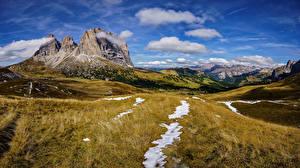 Фотография Италия Горы Небо Пейзаж Альпы Облака Утес Dolomites Природа