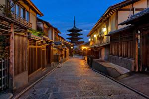 Картинки Япония Киото Здания Улице Уличные фонари Gion город