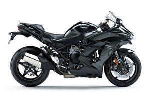 Фотографии Kawasaki Черный Белом фоне Ninja H2 SX, 2018 Мотоциклы