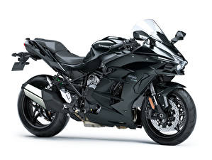 Картинки Kawasaki Черные Белый фон Ninja H2 SX, 2018 мотоцикл