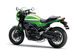 Обои Kawasaki Зеленых Белым фоном Z900RS Cafe, 2018 мотоцикл