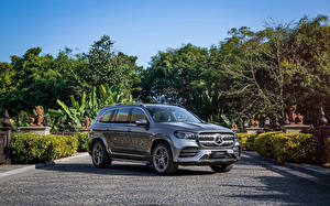Обои Mercedes-Benz SUV Серый Металлик 2019-2020 GLS 450 4MATIC AMG Line машина