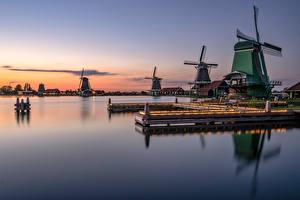Фотография Нидерланды Вечер Мельницы Отражении Zaanse Schans Природа