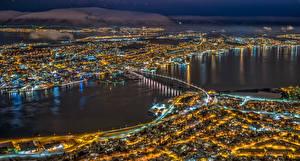 Картинка Норвегия Мосты Дома В ночи Сверху Tromsø Города