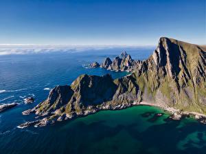 Фотография Норвегия Море Гора Побережье Лофотенские острова Скалы Måtinden Природа
