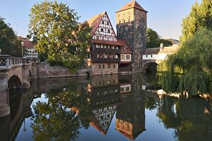 Фото Нюрнберг Германия Дома Реки Мосты Отражение Города
