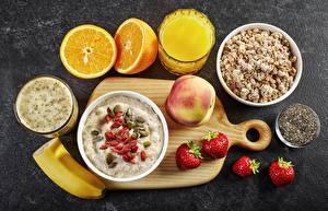 Обои Овсяная Сок Каша Фрукты Завтрак Продукты питания