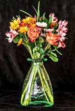 Картинка Роза Альстрёмерия Хризантемы Ваза Цветы