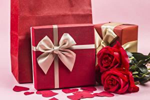 Картинка Розы День всех влюблённых Бантик Подарков Сердца цветок