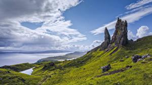 Фотографии Шотландия Гора Берег Облака Скале Isle of Skye