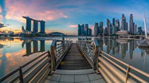 Фото Сингапур Утро Дома Небоскребы Marina Bay
