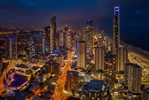 Фото Небоскребы Здания Австралия Ночью Queensland, Gold Coast город