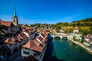 Фото Швейцария Берн Здания Реки Мост Города