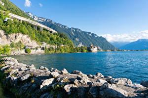 Картинки Швейцария Озеро Побережье Камни Утес lake Geneva