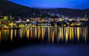 Фото Швейцария Озеро Дома Ночью St. Moritz Города