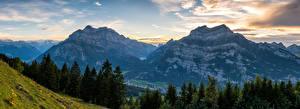 Фотографии Швейцария Гора Пейзаж Панорама Ели Облако Облака Glarus Природа