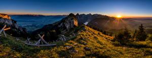 Фото Швейцария Горы Пейзаж Альп Альпы Солнце Hoher Kasten Природа
