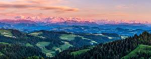 Обои Швейцария Горы Пейзаж Альп Альпы Oberland Природа