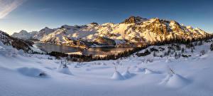 Фотография Швейцария Гора Зима Альп Снеге Engadin