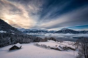 Картинка Швейцария Зимние Горы Озеро Небо Альп Снеге Thunersee Природа