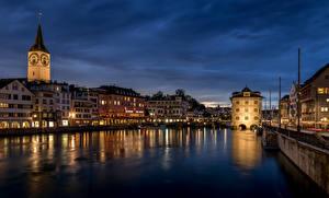 Фото Швейцария Цюрих Дома Реки Мост Limmat River город