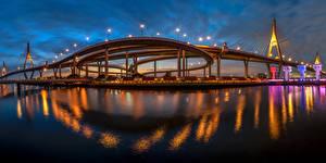 Картинка Таиланд Бангкок Мосты В ночи King's Bridge город