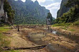 Фотографии Таиланд Парк Озеро Скале Песке Мох Cheow Lan Lake Khao Sok National Park